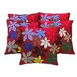 Zikrak Exim Felt Flower Patch Cushion Cover Red 5 Pc Set 40 X 40 Cm