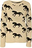 The Home of Fashion New Womens Beige Multi Horse Print Patterned Long Sleeve Knitted Jumper
