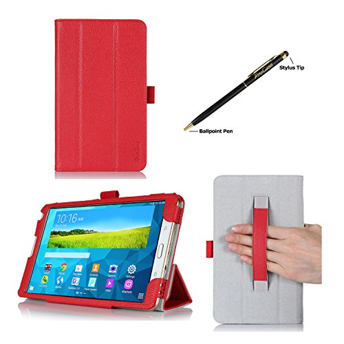 ProCase Samsung Galaxy Tab S 8.4 Case - Tri-Fold Book Cover Case exclusive for 2014 Galaxy Tab S Tablet (8.4 inch, SM-T700) with Hand Strap, auto Sleep/Wake (Red)