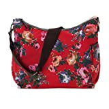 OiOi English Rose Hobo Baby Changing Bag Red with Blue Gingham Lining and Accessories