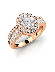 Oval Cluster Ring With 3 Rows Of Sparkle On Sides (AELR0089P)