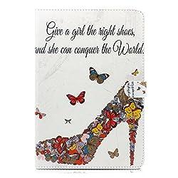 iPad mini 4 case, Milocos [PU Soft Leather] [Drop Protection] [Auto Wake] Girly Butterfly High Heels & Quotes on Mangetic Stand Smart Folio Wake Sleep PU Leather Case for Ipad Mini 4