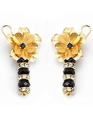 Aarya 24kt Gold Foil Hanging Crystal Earring For Women - B00LBZS2YO