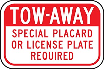 """Accuform Signs FRA240RA Engineer-Grade Reflective Aluminum Handicapped Parking Supplemental Sign (California), Legend """"TOW-AWAY - SPECIAL PLACARD OR LICENSE PLATE REQUIRED"""", 8"""" Length x 12"""" Width x 0.080"""" Thickness, Red on White"""
