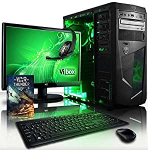 "VIBOX Standard Package 3 - Fast 3.8GHz Quad Core, Family Desktop Gaming PC, Computer with WarThunder Game Bundle, 22"" Widescreen LCD Monitor, Super Fast WiFi Connection Internet Adapter, Multimedia Keyboard & Mouse, Gaming Headset PLUS a Lifetime Warranty (3.1GHz (3.8GHz Turbo) AMD A8 Quad 4-Core Advanced Processor APU CPU, Integrated Radeon HD Graphics Card Chip GPU, 1TB Hard Drive, 8GB 1600MHz RAM Memory, Gaming Case with Neon LED Fans, DVD-RW, No Operating System Included)"