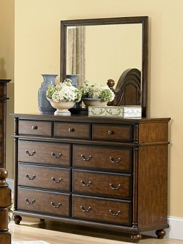 Langston Dresser & Mirror By Homelegance In Brown Cherry front-538660