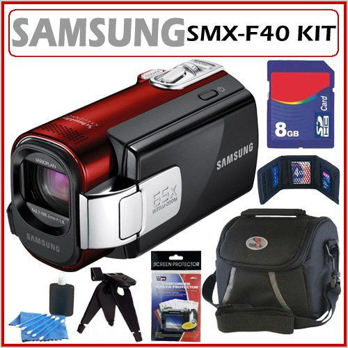 Samsung SMX-F40 Memory Card Digital Camcorder with 52x Optical Zoom in Red + 8GB Accessory Kit