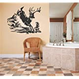 Decal - Vinyl Wall Sticker : Deer Running Outdoor Scene Living Room Bedroom Kitchen Home Decor Picture Art Image Peel & Stick Graphic Mural Design Decoration - Discounted Sale Item - Size : 20 Inches X 20 Inches - 22 Colors Available