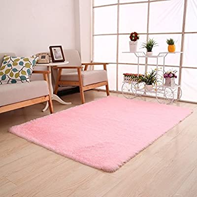 Super Soft Modern Shag Area Rugs Living Room Carpet Bedroom Rug for Children Play Solid Home Decorator Floor Rug and Carpets 4- Feet By 5- Feet