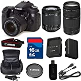 Canon 70D Digital SLR Camera with EF-S 18-55mm f/3.5-5.6 IS STM Lens + For 75-300mm III Zoom + High Speed 16GB Memory Card + High Speed Reader + 6pc Bundle - International Version