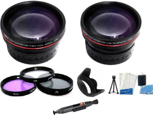 Camera Lens Kit Includes 58Mm 2X Telephoto And .43X Wide Angle Lens Kit + (3) Filters (Uv-Cpl-Fld) + 62Mm Hard Lens Hood + Lenspen + Mini Tripod + Lcd Screen Protectors + Camera Cleaning Kit For Canon Vixia Hf S200 Dual Flash Memory Camcorder