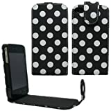 Sleek Gadgets - Black Polka Dots Series Flip Case Cover for Apple iPhone 4, iPhone 4S, 4 S 8GB, 16GB