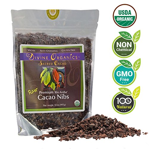 Divine-Organics-2Lb-32oz-Raw-Cacao-Cocoa-Nibs-Certified-Organic-Premium-Rio-Arriba-Smoothies-Baking-Snacks-Salads-Trail-Mixes-Chocolate-Chips-Substitute-Rich-in-Magnesium