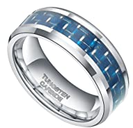8mm Tungsten Carbide Ring Blue Carbon…