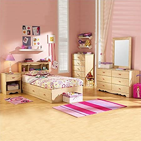 South Shore Furniture Lily Rose Kids Twin Bed Captain Storage Bedroom Set