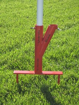 The Original Umbrella Stand - Use Anywhere, Sand or Grass, Easy to Use, Red with Thumbscrews