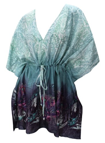 La Leela 100% Cotton Printed Beach Swim Cover Up Tunic