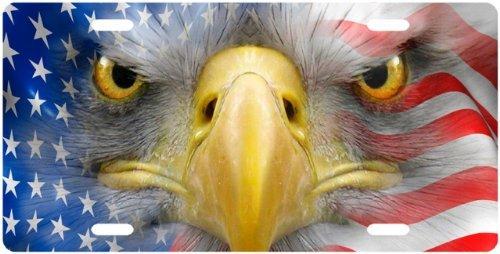 American Eagle Face in Flag License Plate Novelty Tag from Redeye Laserworks by Redeye Laserworks LLC