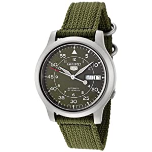 Click to buy Seiko Watches for Men: SNK805K2 Automatic Green Dial Green Fabric Strap Watch from Amazon!
