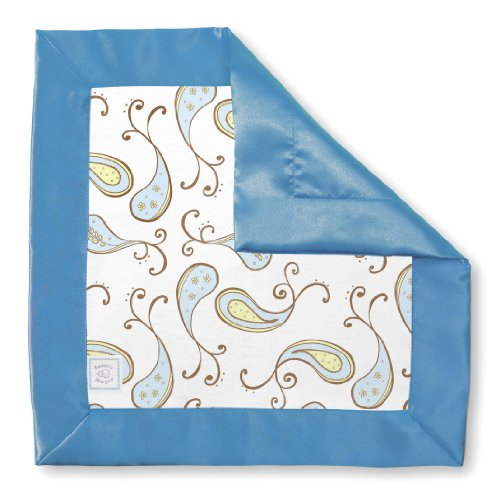 SwaddleDesigns Baby Lovie, Cotton Security Blankie in Triplets Paisley, Pastel Blue