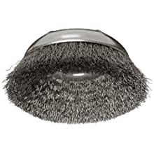 Weiler Wire Cup Brush, Threaded Hole, Steel, Crimped Wire, 3&#034; Diameter, 0.014&#034; Wire Diameter, 5/8&#034;-11 Arbor, 1&#034; Bristle Length, 14000 rpm (Pack of 1)