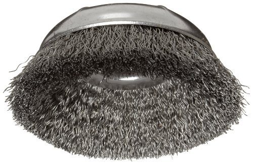 "Weiler Wire Cup Brush, Threaded Hole, Steel, Crimped Wire, 4"" Diameter, 0.014"" Wire Diameter, 5/8""-11 Arbor, 1-3/8"" Bristle Length, 9000 rpm (Pack of 1)"