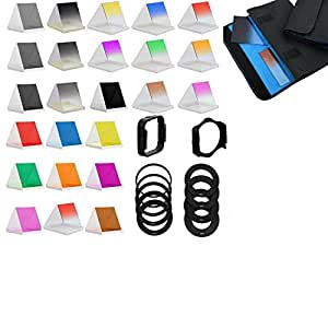 Complete 24 Square Full & Graduated Filter Set for Nikon D3000, D3100, D3200, D3300, D5000, D5100, D5200, D5300, D7000, D7100, D3, D4, D40, D40x, D50, D60, D70, D70s, D80, D90, D100, D200, D300, D600, D610, D700, D800 & D800E Digital SLR Cameras
