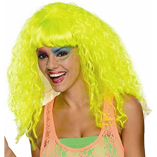 Rubie's Costume Rock 'N Rave Wig, Neon Yellow, One Size - 1