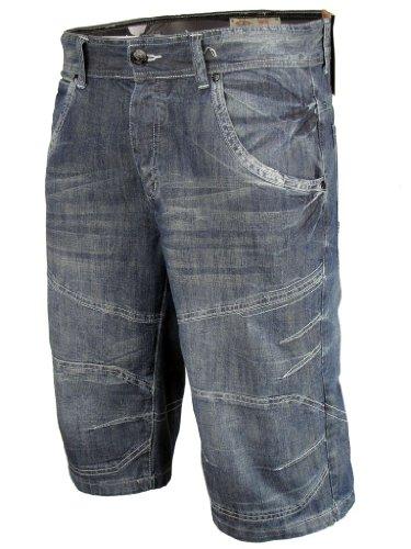 Mens Denim Jean/ Cargo Shorts 'Tokyo Laundry Adrenaline' Vintage Blue Wash
