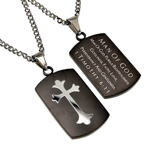Christian Mens Black and Silver Stainless Steel Abstinence