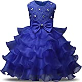 NNJXD Girl Dress Kids Ruffles Lace Party Wedding Dresses Size (140) 6-7 Years Blue