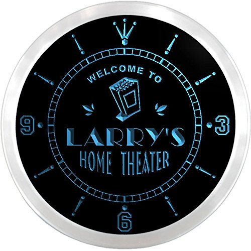 Ncph0029-B Larry'S Home Theater Movie Bar Beer Led Neon Sign Wall Clock