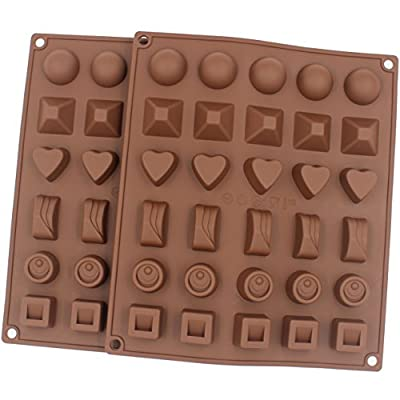 Zicome Silicone Mold for Candy Chocolate Treat Making, Set of 2