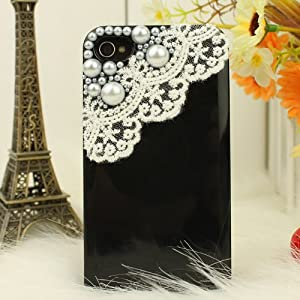 3d Bling Crystal Iphone Case for At&t Verizon Sprint Iphone 4/4s Pearls and Lace - Black