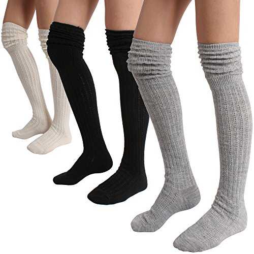 STYLEGAGA Winter Slouch Top Over The Knee High Knit Boot Socks (One Size:XS to M, Slouch Top_3Pair)