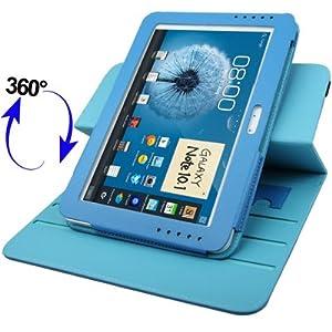 Etui Housse Luxe Cuir Rotatif 360° couleur Bleu pour Samsung Galaxy Note 10.1 N8000 / N8010 - TechExpert