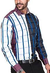 Botticelli Men's White With Blue Checked Shirt (3015-FULL-XL_White_X-Large)