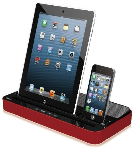 H Ipega® Dual Docking Station Chager Adapter & Speaker iPad iPhone iPod Samsung S3 (Red Black)