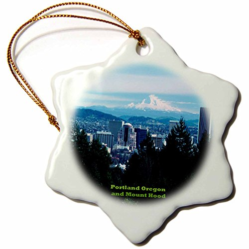 3dRose Portland Oregon with Mount Hood of The Cascade Range - Snowflake Ornament, Porcelain, 3-Inch (orn_156472_1) (Hanging Stove Hood compare prices)