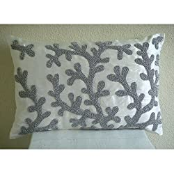 Silver Corals - Decorative Pillow Covers - Rectangle Pillow Cover with Bead Embroidery