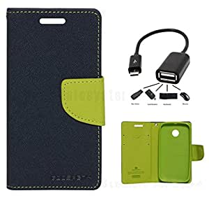 Relax And Shop Flip Cover With OTG Cable For MotorolaMoto G3 - (Blue Flip+OTG)