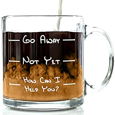 Go Away Funny Glass Coffee Mug 13 oz - Best Birthday Gifts For Men or Women, Him or Her - Cool Present Idea For Coworkers, Mom, Dad, Kids, Son, Daughter, Husband or Wife