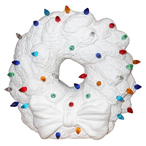Holiday Light Up Wreath With Bow Cord, Bulb and Lights - Paint Your Own Ceramic Keepsake (Make Your Own Wreath compare prices)