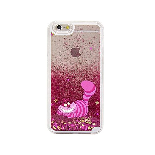 Phone Kandy® Difficile trasparente della cassa del telefono di Shell stelle glitter Sparkle con Cartoon (iPhone 5c, Cheshire Cat)
