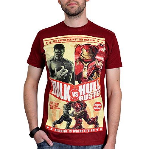 Avengers - T-shirt di Hulk vs. Hulkbuster - Licenza ufficiale Marvel - Rosso - L