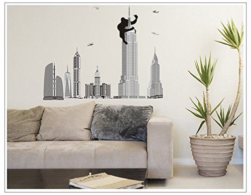 Apexshell (Tm) King Kong Climbing Empire State Building Removable High Quality Decorate Wall Decal Sticker Decor For Kids, Home, Nursery Room, For Children'S Bedroom front-176908