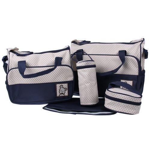 Polisi 5 In 1 Dark Blue Bear Diaper Tote Bag Mommy/Mother Bag Baby Bag