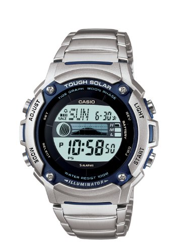 Casio Men's Solar Powered Tide Graph Bracelet Digital Watch W-S210HD-1AVCF