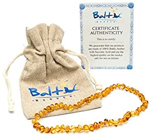 Baltic Amber Teething Necklace For Babies (Unisex) (Honey) - Anti Flammatory, Drooling & Teething Pain Reduce Properties - Natural Certificated Oval Baltic Jewelry with the Highest Quality Guaranteed. Easy to Fastens with a Twist-in Screw Clasp Mothe