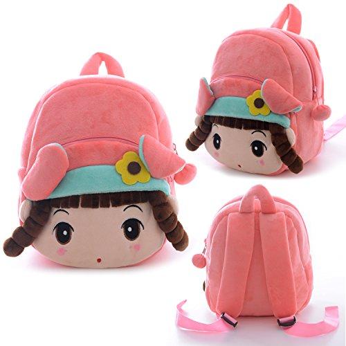 Gloveleya-Kids-Angela-Girl-Cartoon-Plush-Backpack-School-Shoulder-Bags-Pink-8-for-1-3-Years-Old-Kids